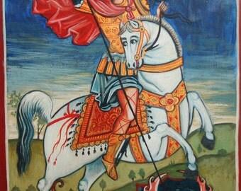 Hand painted tempera orthodox icon Saint George