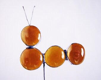 Handmade Stained Glass Amber Caterpillar Animal Plant Pot Decoration