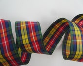 """Plaid Ribbon Multicolor Ribbon Red Green Blue Yellow Ribbon Wired 1 1/2"""" inch wide Christmas Ribbon Wreath Ribbon Gift Wrap Gift Basket LC75"""