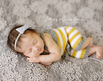 Stripe Rompers -  Knitting Pattern - Newborn