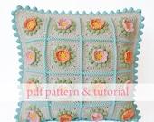 Flowery Crochet Cushion - PDF pattern & step by step tutorial