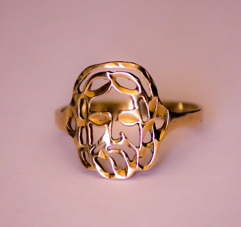 Jesus Face Ring 14k Yellow Gold Size 5