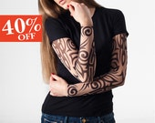 SALE Size L - T-shirt with Tribal Temporary Tattoo Printed Mesh Sleeves / T shirt for Women / Printed t shirt / Fake Tattoo