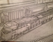 Original pencil drawing of train in Tulsa , OK.(print w/ Frame)