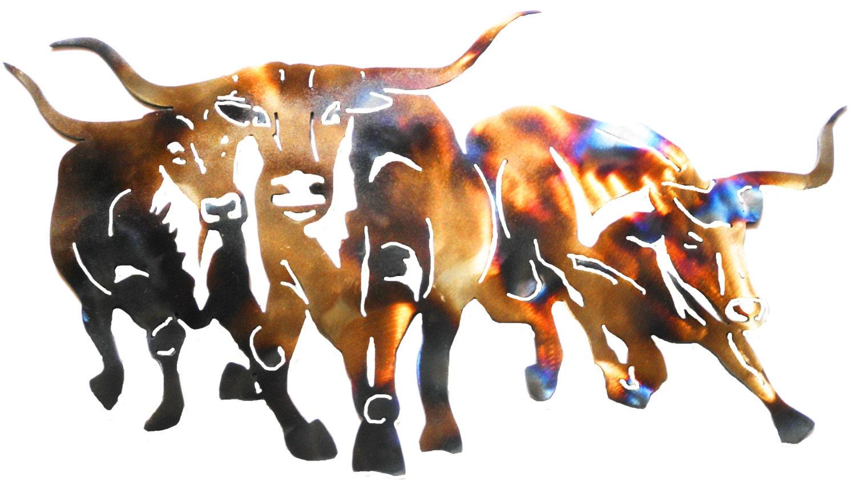 Texas Longhorns Metal Sculpture Wall Art By Cre8iveMetalDesigns