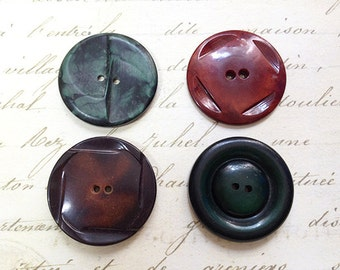 4 Large Vintage Coat Buttons Chunky Green Black Brown 38 mm