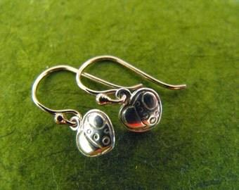 Delicate heart shaped sterling silver earrings