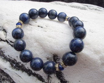 Gemstone bracelet.Semi-precious gemstone 12mm. Lapis lazuli