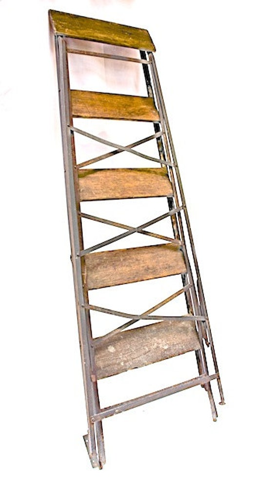 antique french folding echelle pliante ladder