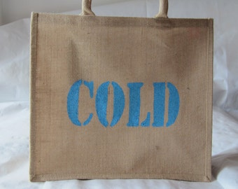 Large Jute Shopping Bag 'cold' to organise in Navy, Light Blue and Black, hand printed