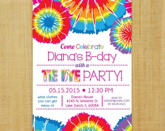 Tie Dye Invitation - Printable