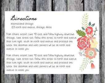Printable Floral Wedding Invitation Directions Card Add On