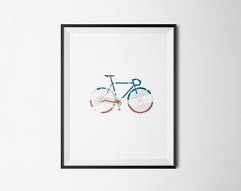 American Flag Street Bicycle Colorful Red White and Blue for Fourth of July Wall Art Print Poster