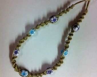 Natural Hemp Necklace with Blue & Purple Floral Beads