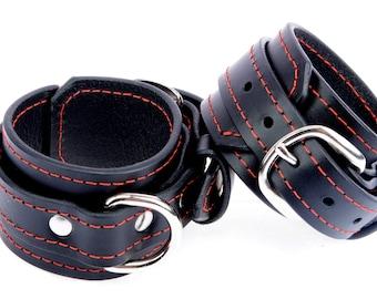 BDSM Ankle Cuffs. Black Leather Ankle Cuffs. Handmade Black Leather Ankle Cuff With Red Stitch Detail. BDSM Ankle Cuffs With D Ring BDSM