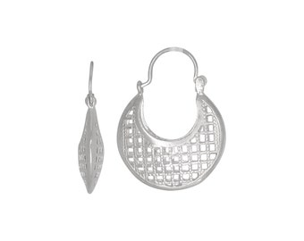 Sterling Silver .925 Grid Design, Cut Out Squares Basket Earring (S) | Made in USA