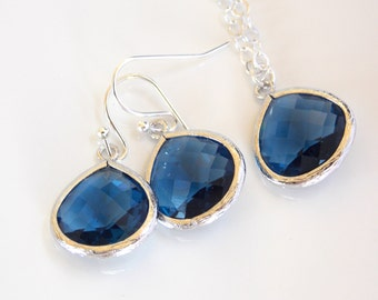Wedding Jewelry Set, Blue Earrings and Neklace, Sterling Silver, Navy Blue, Bridesmaid Jewelry, Bridesmaid Earrings, Bridesmaid Set, Gifts