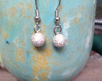 Small silver glitter beaded earrings