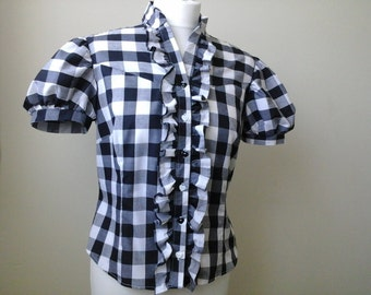 black and white gingham fitted blouse with puff sleeves ladies size 12