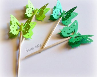 Mixed Green Monarch Butterfly Cupcake Toppers, Food Picks-Set of 24 pcs