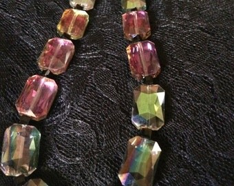 Iridescent Golds, Greens and Rose Mirror Beaded Necklace