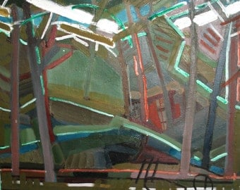 European expressionist oil painting forest landscape