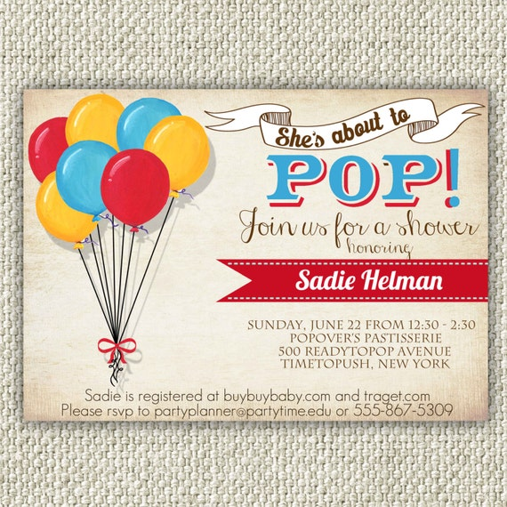 ready to pop baby shower invitation instant download retro baby
