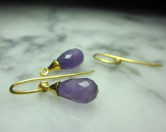 Briolettes Amethyst Mix & Match chain earrings faceted rose quartz earrings