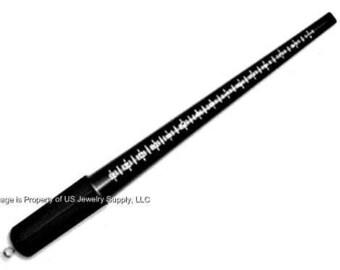 2 Black Plastic Sz 1-15 Ring Mandrels Grooved Measuring Sizer Stick Jewelers Tool