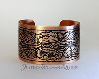 Cuff Bracelet w/ Poppies Motif Etched, Flowers, Buds, Leaves, Wizard of Oz, Woman's Copper Cuff