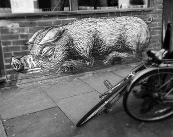 Graffiti Photography, London Photography, Black and White, Street Art, Fine Art Print, Contemporary Wall Art, Urban Photography, ROA pig