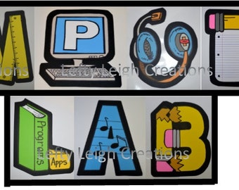Creative Personalized Wall Art /Decorations for your school classroom or office. Computer Lab Design