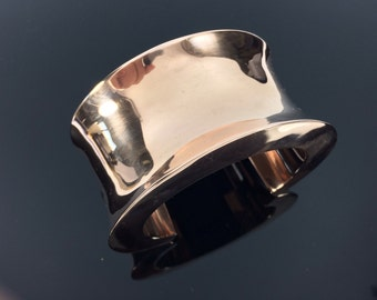 "Wide Copper Cuff Bracelet // Concave Design // 100% Copper // Handmade // Size 7"" to 8"""