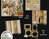 Downloadable Files - Nothing will be shipped - LLL Scrap Creations - Vintage Sepia Bundle - Digital Scrapbooking Kit