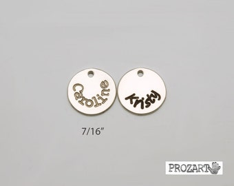 name charm, name disc, sterling silver name disc, personalized disc, initial disc, font choices