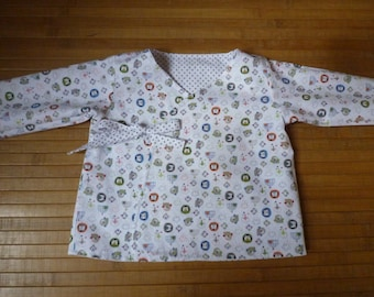 Vest reversible baby, size 6 months, cache-coeur, white to gray dots and white patterned penguins