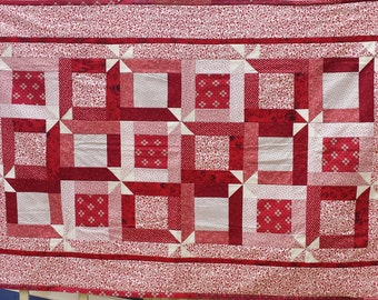 Red Cotton Quilt with Windmill Design