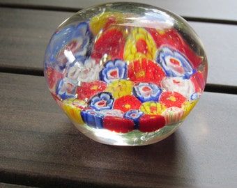 Floral Art Glass Paperweight