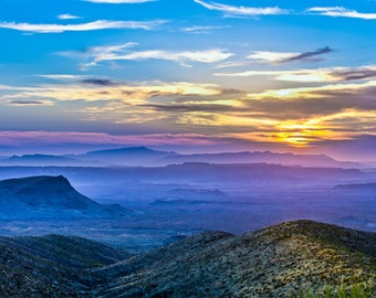 Sunset from Sotol Vista, with Santa Elena canyon in the distance. This is in Big Bend National Park, Texas.