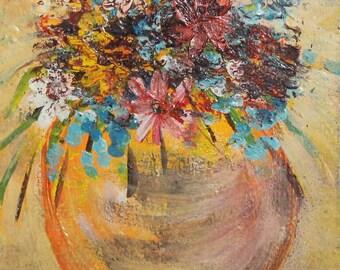 Vintage impressionist  still life wild flowers oil painting