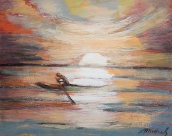 Landscape seascape sunset oil painting