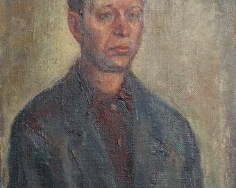 1968 oil painting man portrait