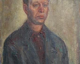 1968 oil painting man portrait