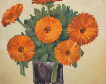 Antique oil painting floral still life