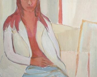 Vintage oil painting expressionist woman portrait