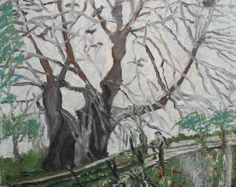 1986 Landscape forest vintage oil painting signed