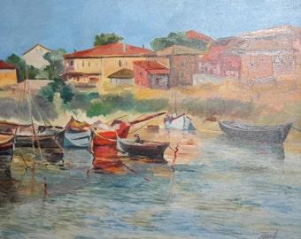 Impressionist seascape landscape oil painting signed