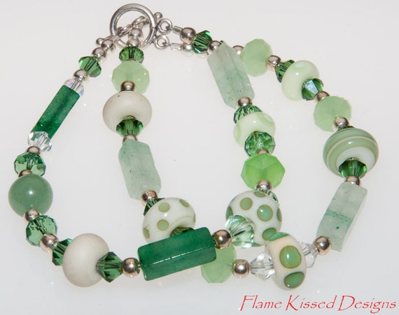 GRASSHOPPER. Colorado handcrafted double strand Lampwork glass bead bracelet.