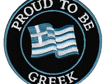 PROUD to be GREEK patch embroidered iron-on Greece Flag biker applique