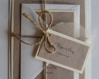Rustic Wedding Invitation, Vintage Kraft Wedding Invitation, Burlap Wedding Invitation, Flower Invitation